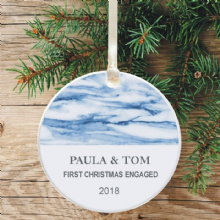 First Christmas Engaged Keepsake Decoration - Blue Marble Design